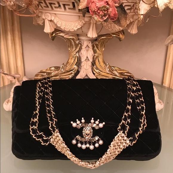 db883fcfc5ed02 CHANEL Bags | Velvet Pearl Quilted Medium Single Flap | Poshmark